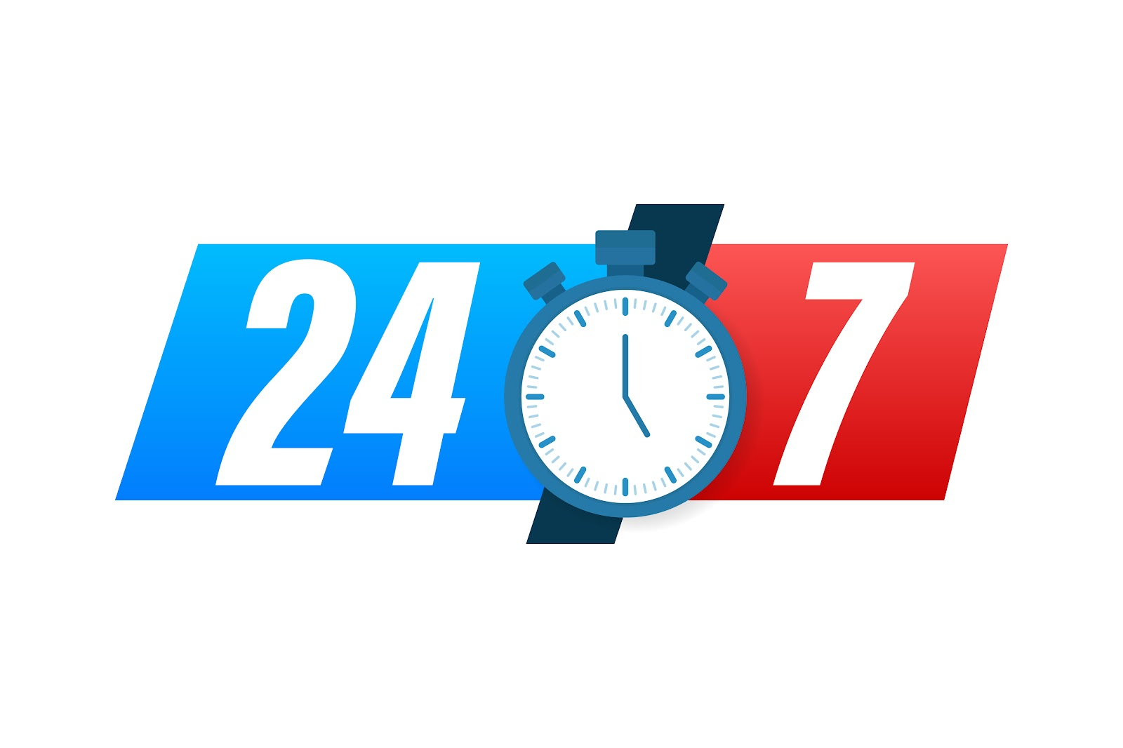 online 24 by 7 illustration with watch