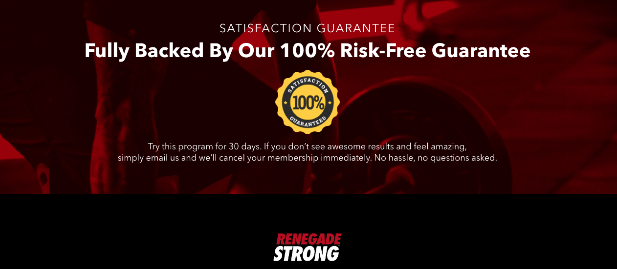 A screenshot of The Renegade Diet's landing page offering a satisfaction guarantee.