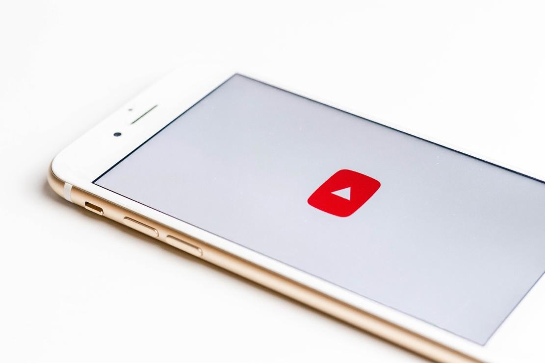 YouTube logo on phone