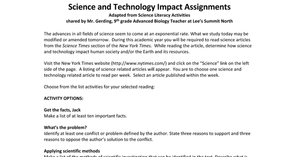 soical impact of tehnology assignment 1 This assignment involves five tasks and each task has their objectives the first task talks about the impact of examples of environmental and social impacts of.