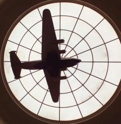 "Scale Model ""Yankee Clipper"" suspended from the skylight in the terminal's rotunda."