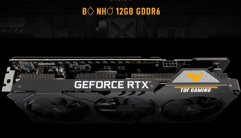 Card màn hình/ VGA ASUS TUF Gaming GeForce RTX 3060 OC 12G (TUF-RTX3060-O12G-GAMING) | Bộ nhớ VRAM 12GB GDDR6