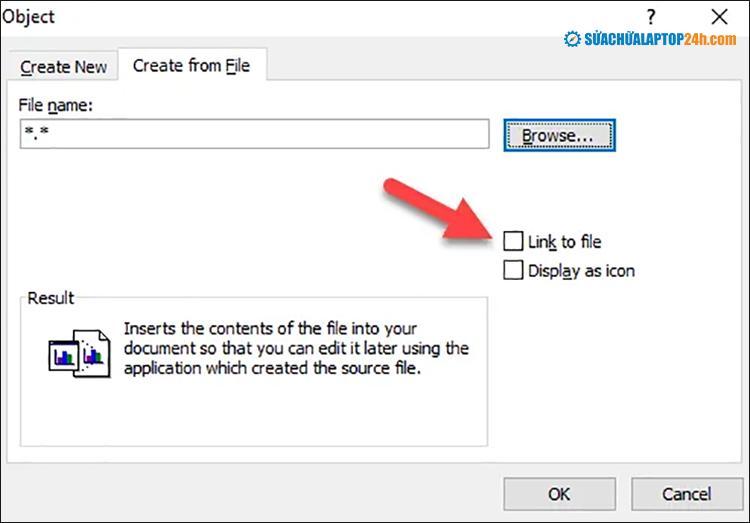 Tại đây nhấn vào Link to File để chèn phím tắt