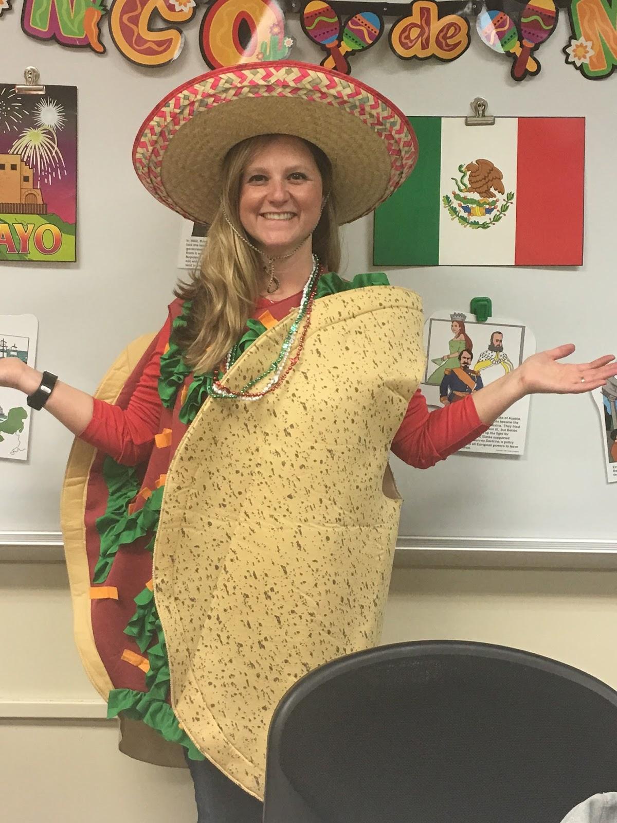 Mrs. Olexenko in a taco costume.