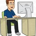 Clip Art Person Using Computer Black and White