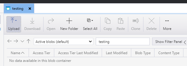 empty container in Microsoft Azure Blob Storage