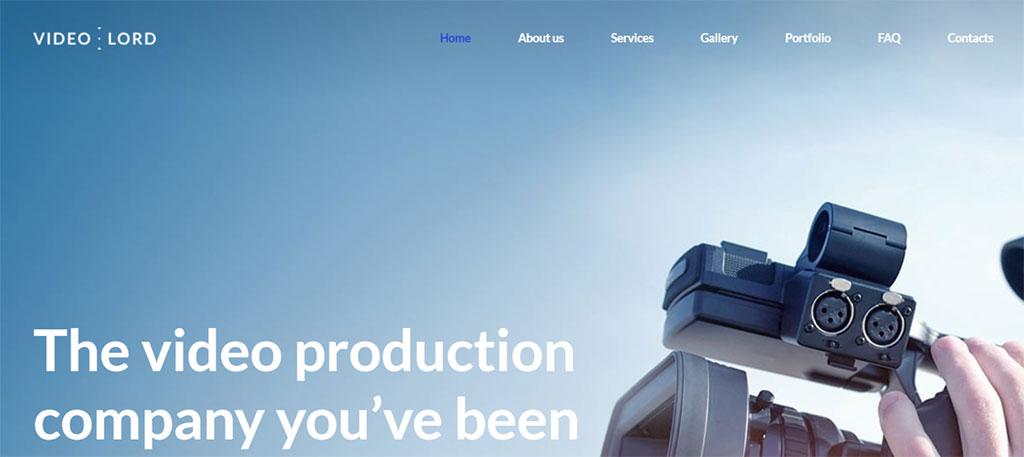 modelo de site premium de produção de vídeo