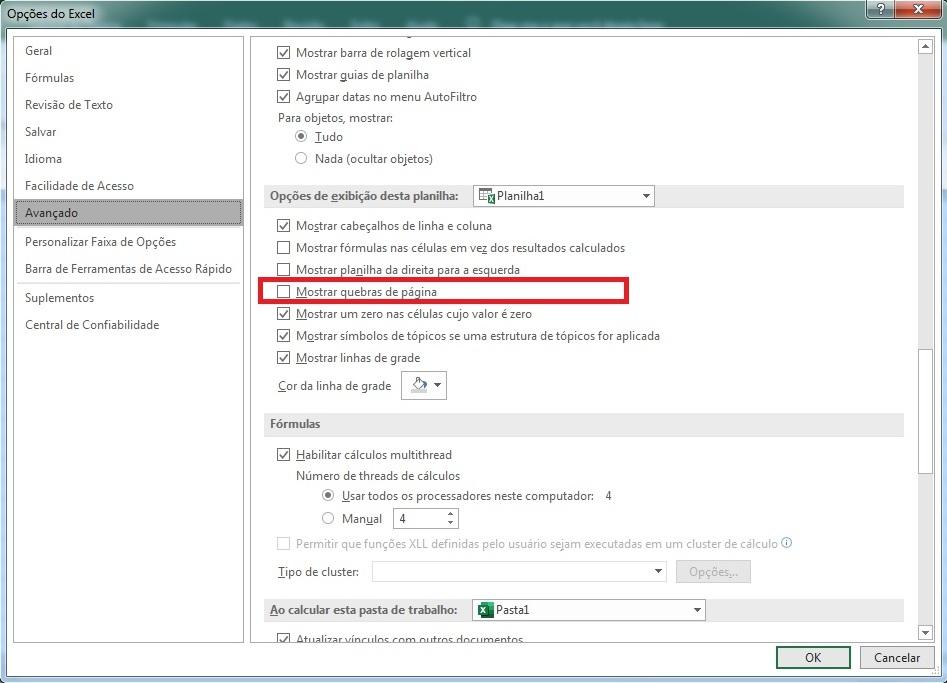 ocultar quebras de página no Excel