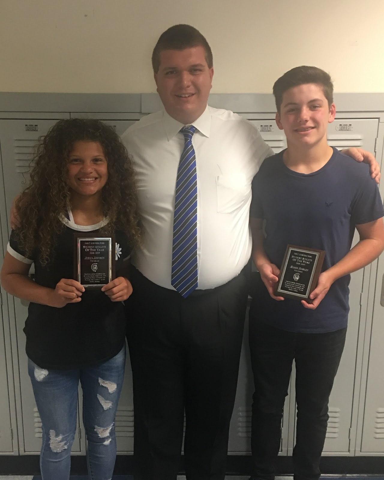 Jerica Johnson & Mason Howard, 7th Grade Student Athletes of the Year (w/ Athletic Director R. Rowland)