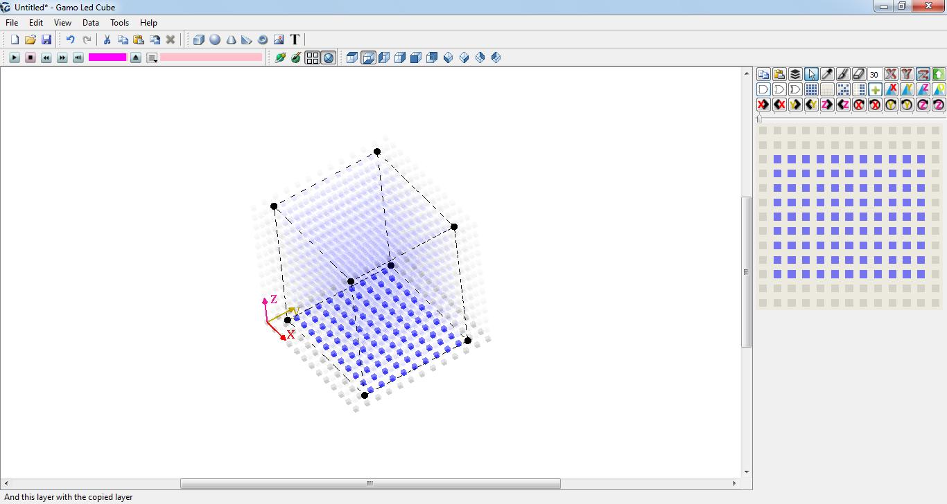 Giao diện làm việc của phần mềm Gamo LED Cube