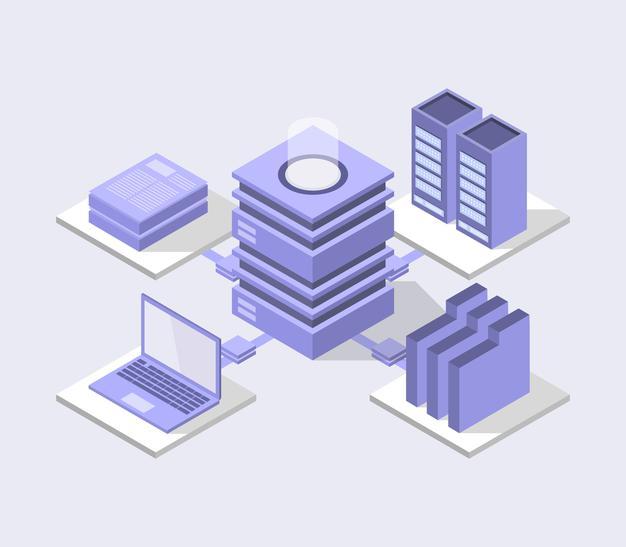 Isometric database center illustration Free Vector