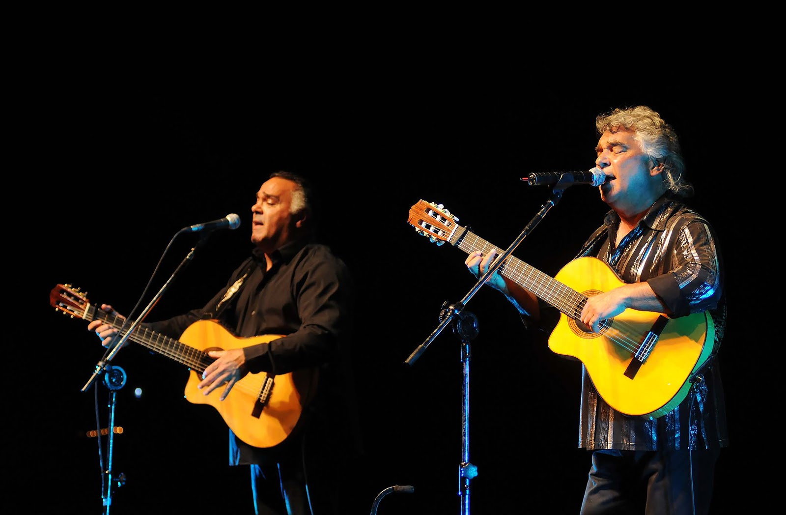 An image of the Gipsy Kings performing live with Spanish guitars.