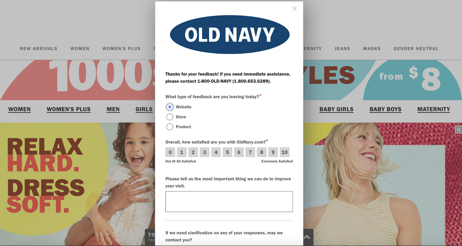 Old Navy Website Feedback Form