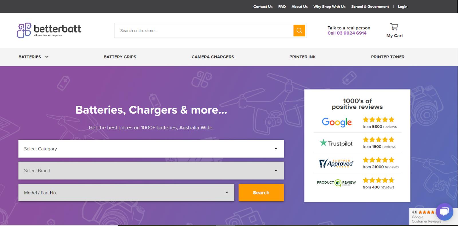 BetterBatt Magento 2 store using One Step Checkout
