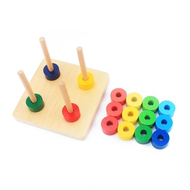 puzzle encastrement sur tige tri de couleurs rouge jaune vert bleu cercle