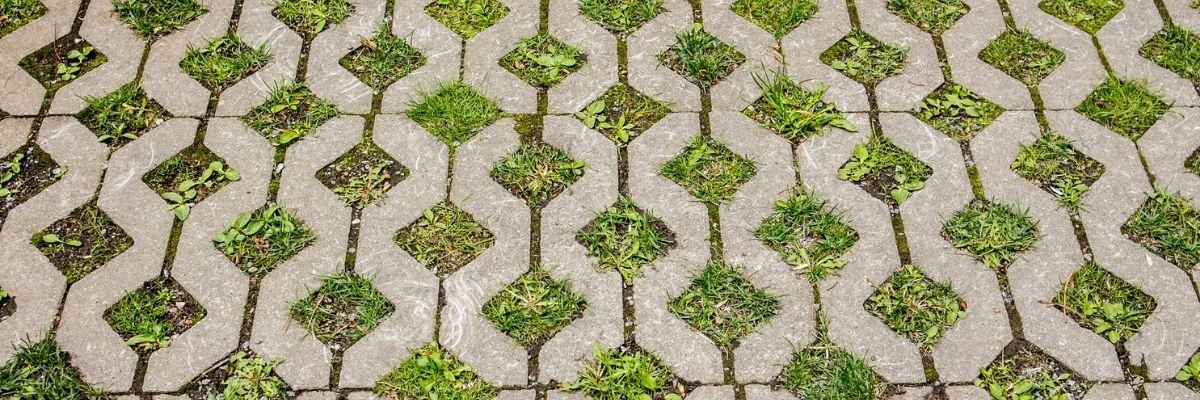 A driveway with permeable pavers helps absorb water.