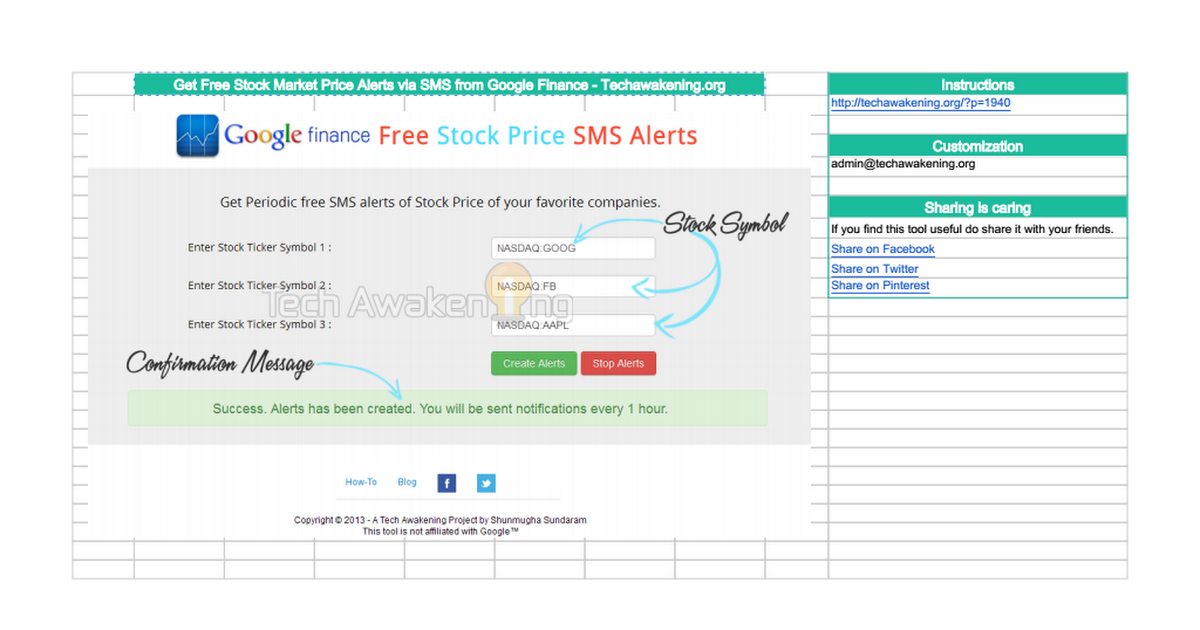 Free Stock Price Sms Alerts From Google Finance Version 20