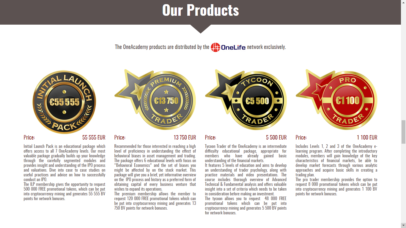 Some of the offers from OneCoin. A crypto related project which is being investigated for scam allegations