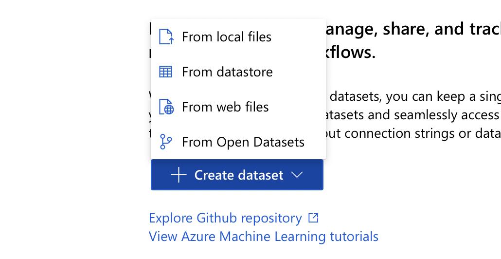 create dataset   azureML