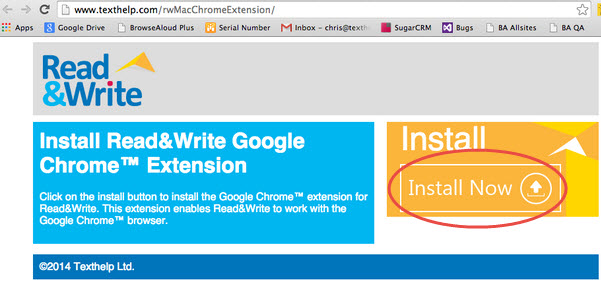 Read&Write Google Chrome extension window
