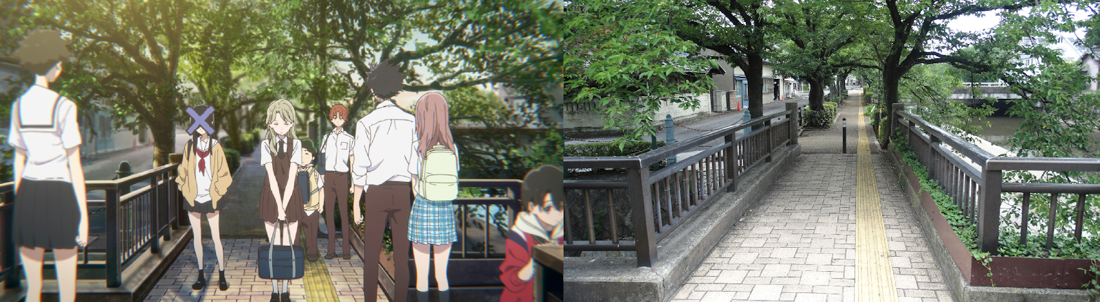 a silent voice, anime, real life, pilgrimage