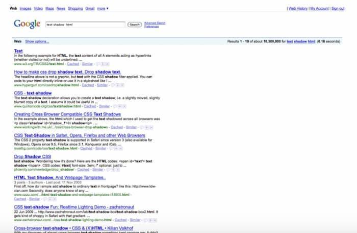 Đây là một ví dụ về trang kết quả của công cụ tìm kiếm cũ trước khi Google hiển thị các tính năng SERP.  Một lý do khác khiến SEO không chết