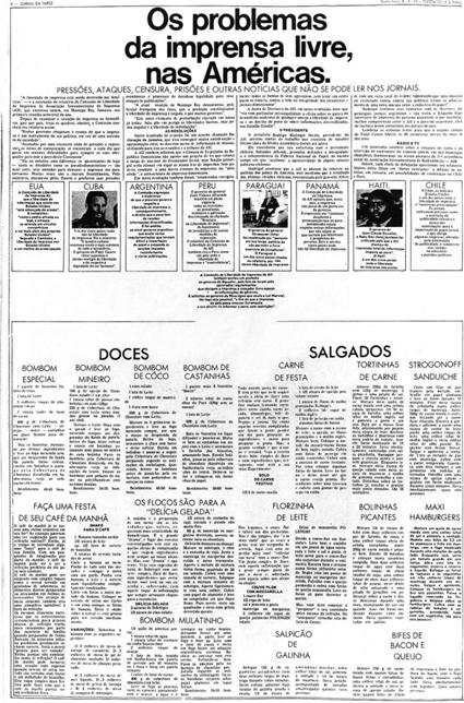 Página do Jornal da Tarde, censurada pela Ditadura Militar.