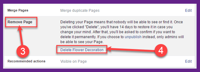 how to remove my facebook page