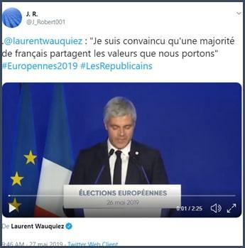Tweet J.R. Laurent Wauquiez : Je suis convaincu qu'une majorité des français partagent les valeurs que nous portons