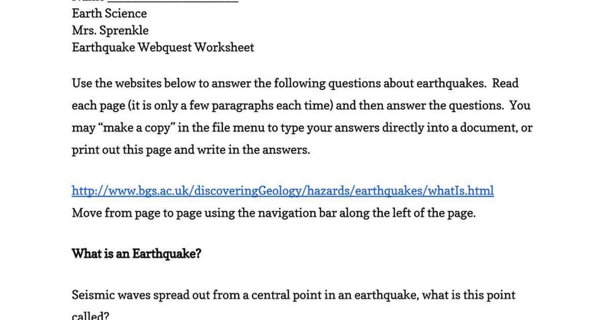 Earthquake Webquest Worksheet Google Docs – Wave Diagram Worksheet