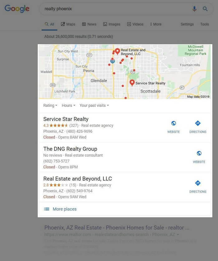 "Google Search for ""Realty Phoenix"" with map pack"