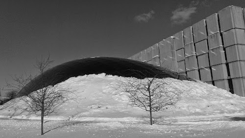 Mansueto library dome rising from a pile of snow