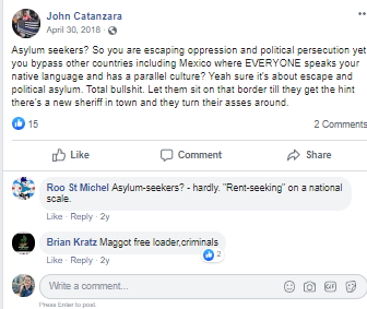 Facebook post by Catanzara with statement about immigrants