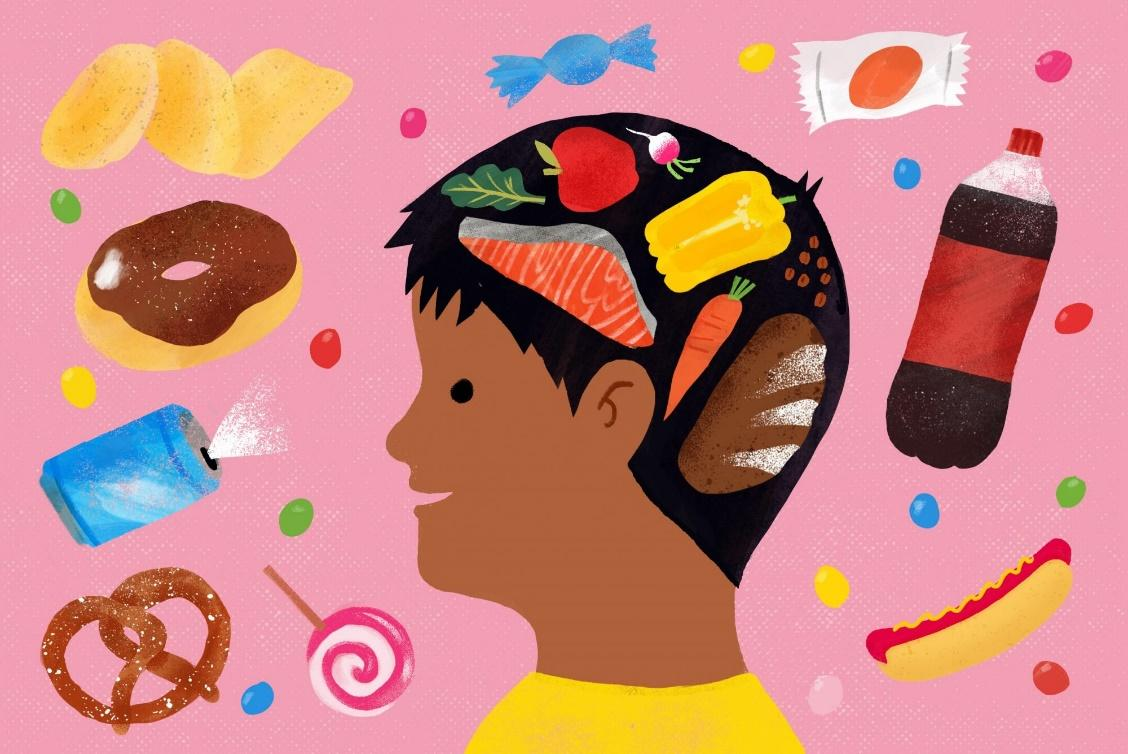 illustration of cchild with healthy foods on the brain and unhealthy foods floating around