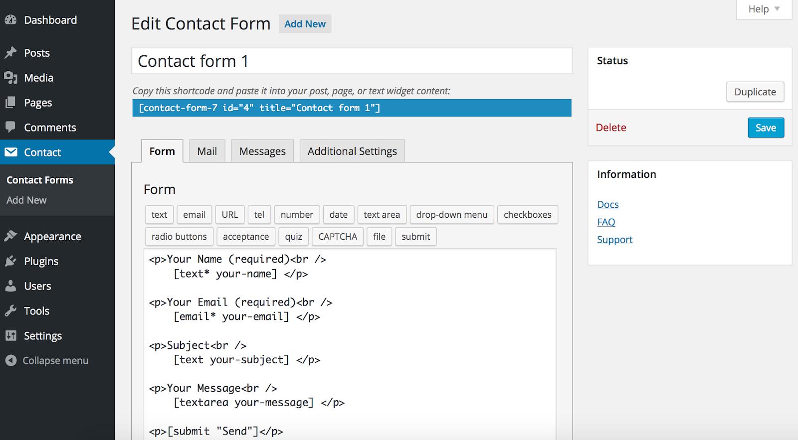 contact form 7 plugins