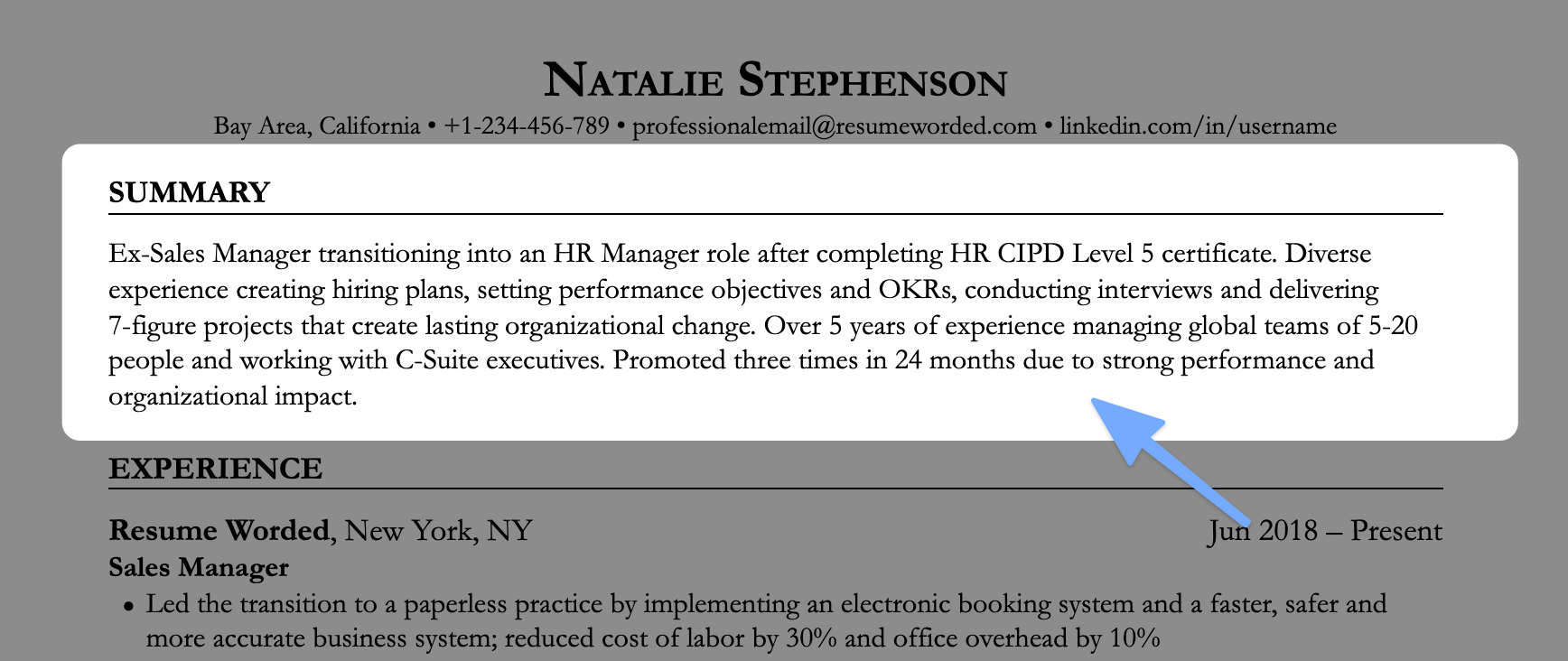 An example of a resume opening statement for a job seeker who's changing jobs