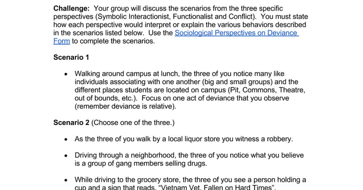 Sociological Perspectives On Deviance Scenarios Google Docs