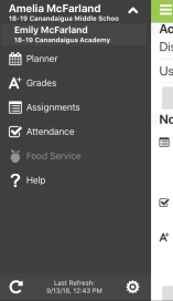 Image of information available in the menu button- planner, grades, assignments, attendance