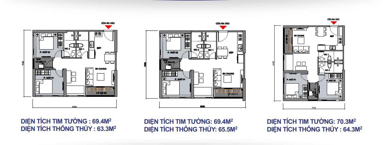 3 loại mặt bằng điển hình căn hộ Vinhomes Sapphire ( căn hộ 2PN + 1)