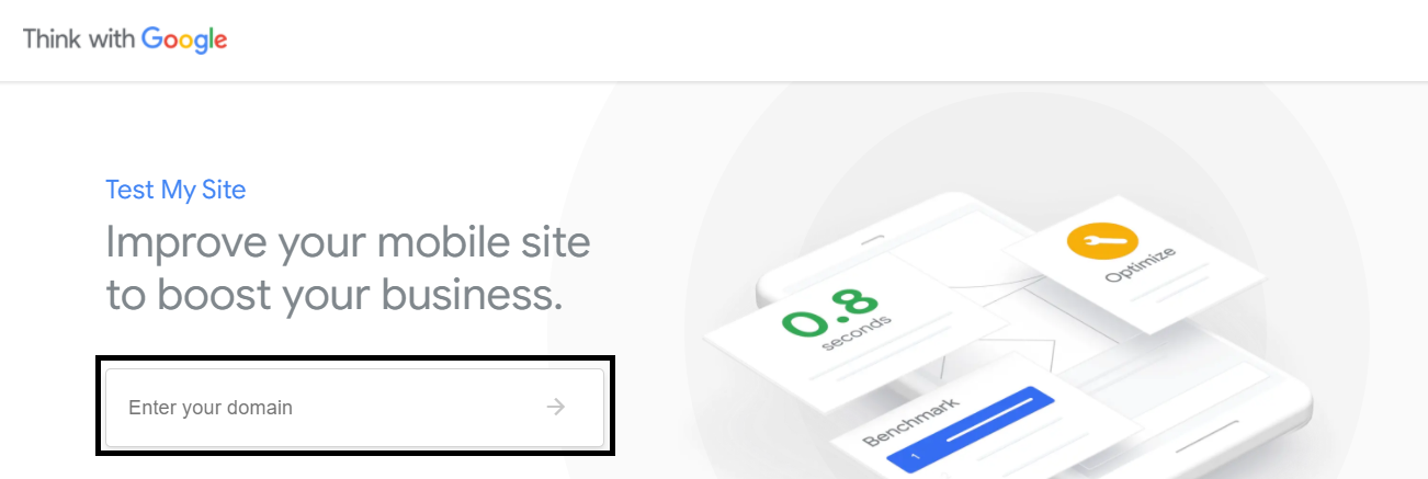 This image shows how you can enter your Domain URL in Think With Google, It's another Google free SEO tool