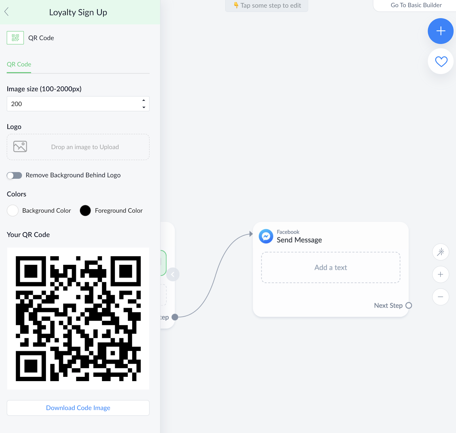 QR Code settings in ManyChat