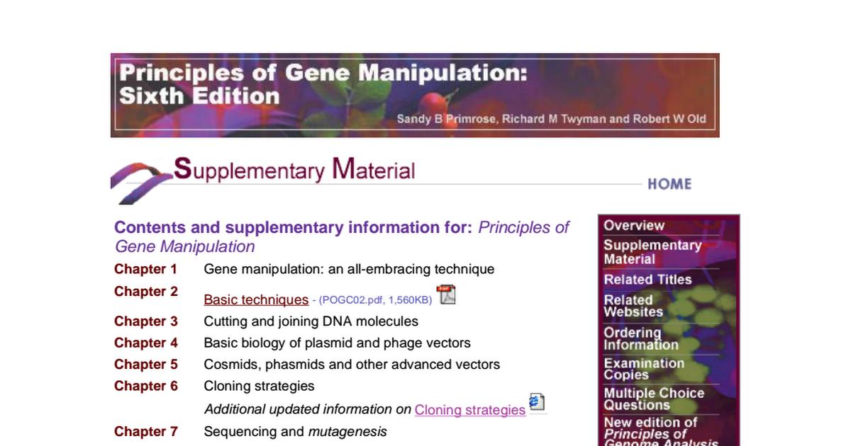 Principles Of Gene Manipulation Old Primrose Pdf Google Drive