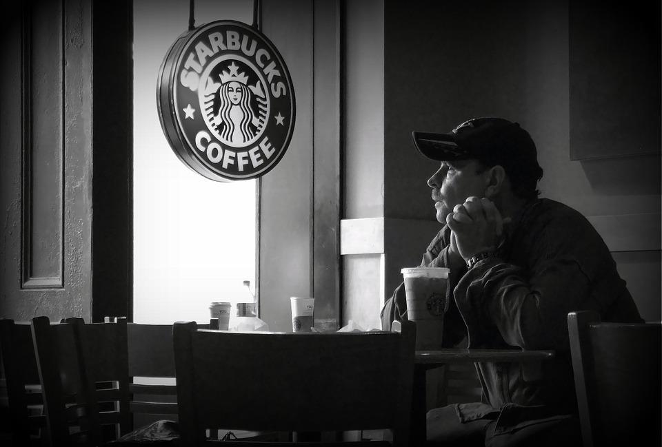 Rue, Caf??, Starbucks, Photographie De Rue, Solitaire
