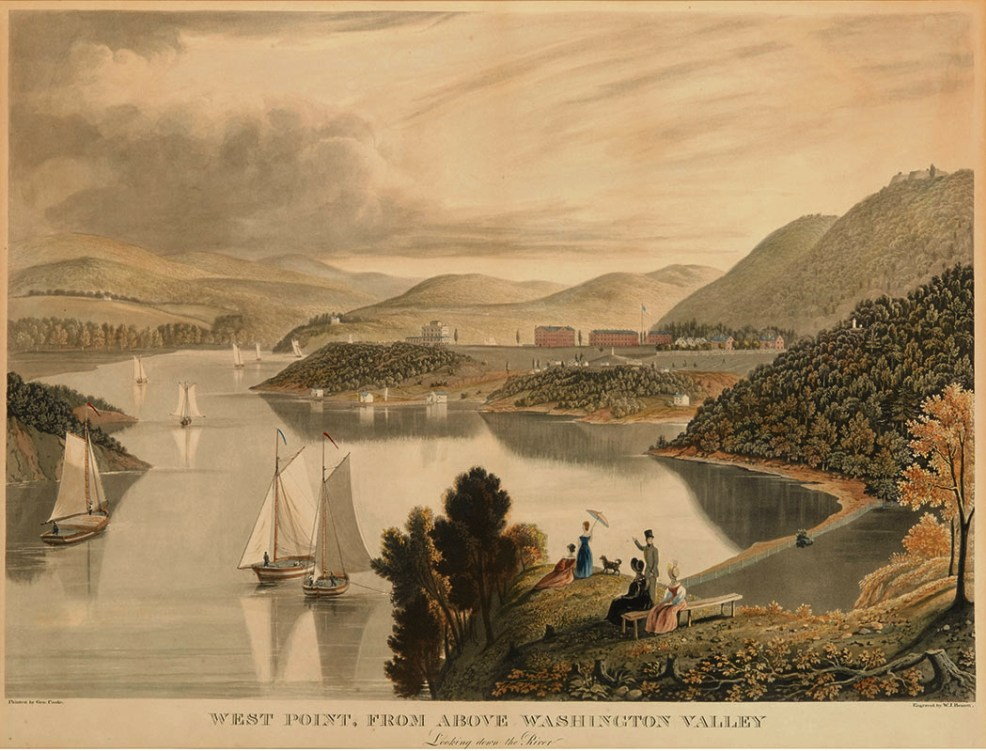 antique print of a river, mountains, ships