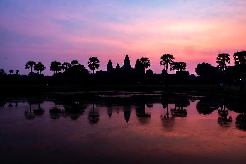 Sunrise at Angkor Wat temple.