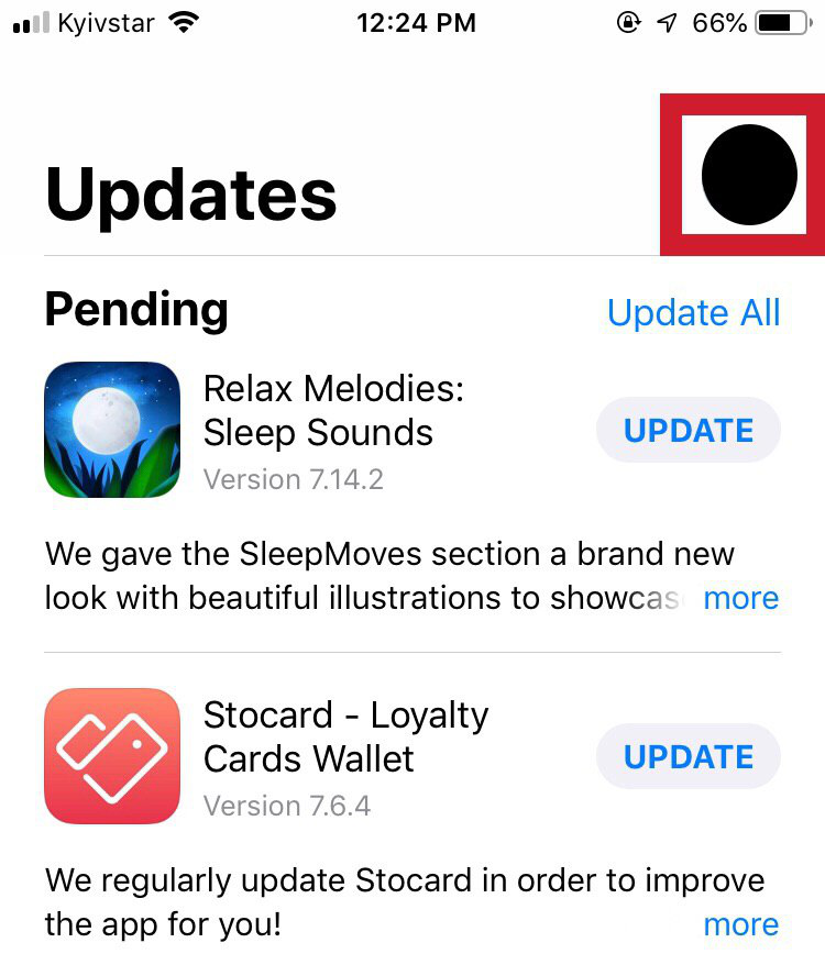 the Account Icon - Updates - App Store