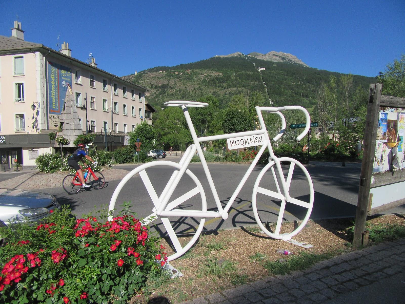 Cycling Col d'Izoard bike at in square in Briancon