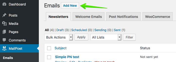 MailPoet screen for adding a new email to WordPress.