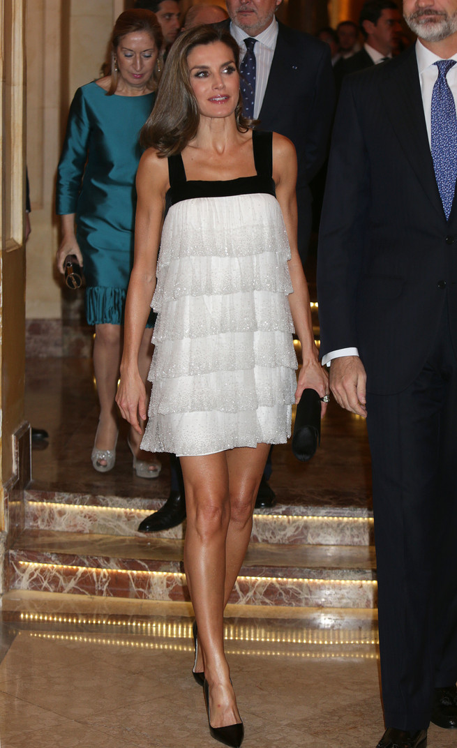 Queen Letizia of Spain wearing a Teresa Helbig Mini dress