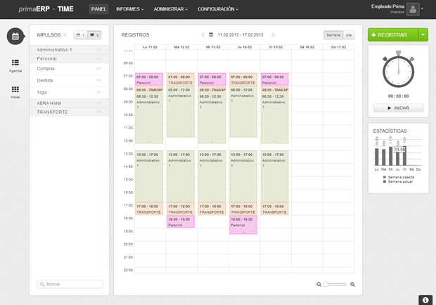 Panel del calendario en primaERP TIME TRACKING